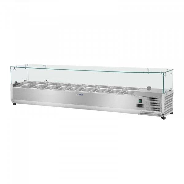 Kylmävitriini - 200 x 39 cm - 9 GN 1/3-astiaa - lasisuojus