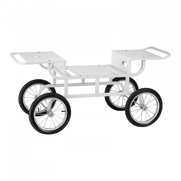 Kärry hattarakoneelle - 4 pyörää - valkoinen