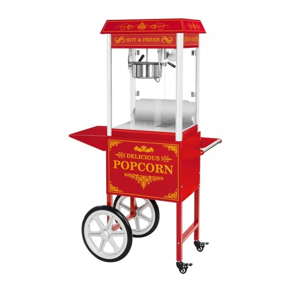 Popcorn kone sis. kärry – punainen
