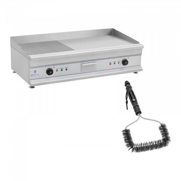 Tuplasähkögrillilevy grilliharjalla - 100 cm - uritettu/tasapintainen - 2 x 3200 W