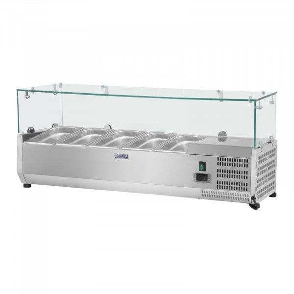 Kylmävitriini - 120 x 33 cm - 5 GN 1/4-astiaa - lasisuojus