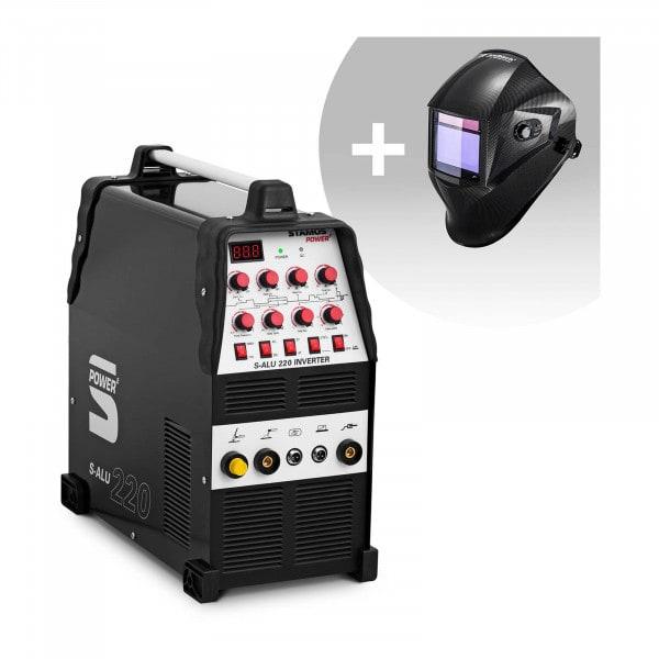 Hitsaussetti Alumiinihitsauskone - 200 A - 230 V - pulssi - 2/4-tahti + Hitsausmaski – Carbonic – PROFESSIONAL SERIES