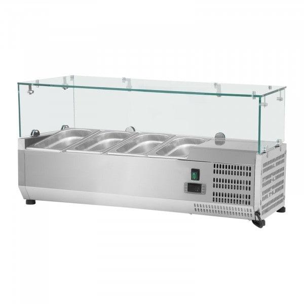 Kylmävitriini - 120 x 39 cm - 4 GN 1/3-astiaa - lasisuojus