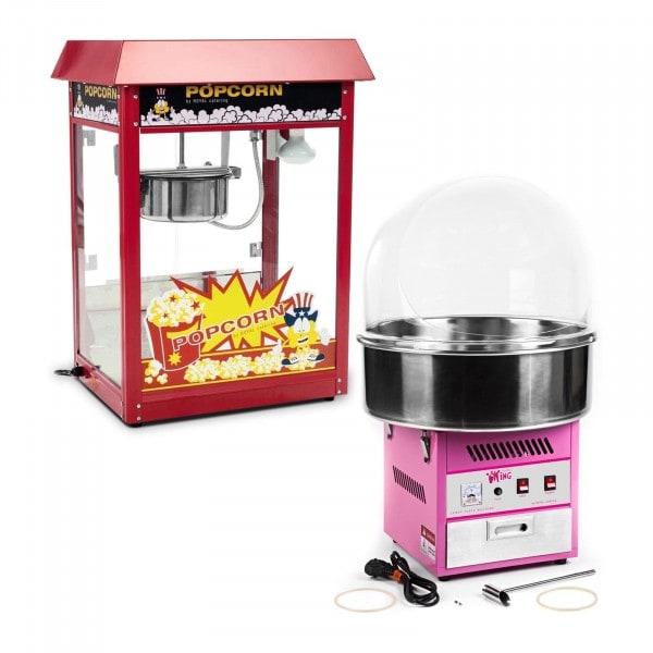 Popcorn-kone ja hattarakone - setti - 1 600 W / 1 200 W - suojakupu