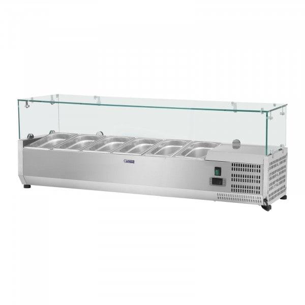 Kylmävitriini - 140 x 33 cm - 6 GN 1/4-astiaa - lasisuojus