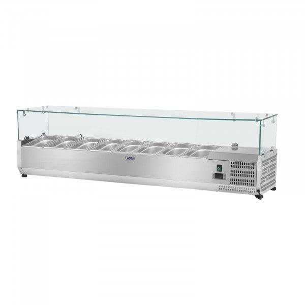 Kylmävitriini - 180 x 39 cm - 8 GN 1/3-astiaa - lasisuojus