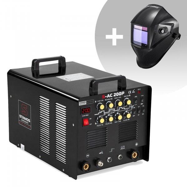 Hitsaussetti Alumiinihitsauskone - 200 A - 230 V - pulssi - sis. pedaali + Hitsausmaski – Carbonic – PROFESSIONAL SERIES