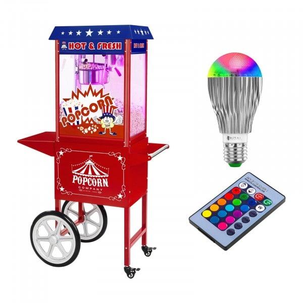 Popcorn kone sis. kärry ja LED-lamppu