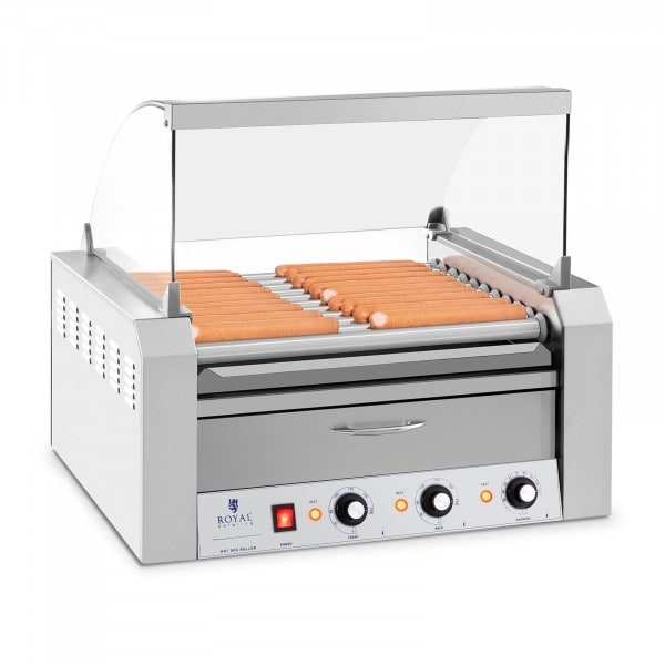 Hot-dog -grilli - 11 rullaa - lämpölokero - ruostumaton teräs