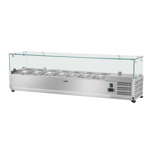 Kylmävitriini - 160 x 39 cm - 7 GN 1/3-astiaa - lasisuojus
