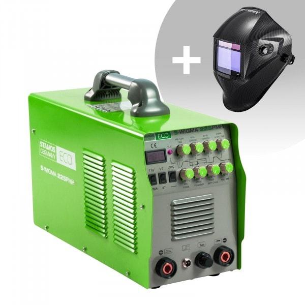 Hitsaussetti TIG-hitsauskone - 225 A - 230 V - pulssi - 2/4-tahti - ECO + Hitsausmaski – Carbonic – PROFESSIONAL SERIES