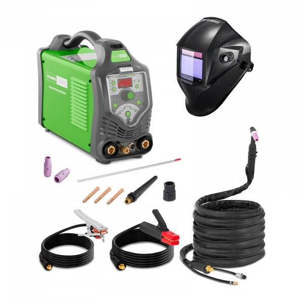Hitsaussetti TIG-hitsauskone - 200 A - 230 V - pulssi - digitaalinen - 2/4-tahti + Hitsausmaski – Carbonic – PROFESSIONAL SERIES