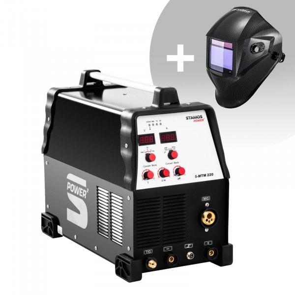 Hitsaussetti Yhdistelmähitsauskone - TIG 220 A - MIG 220 A - MMA + Hitsausmaski – Carbonic – PROFESSIONAL SERIES